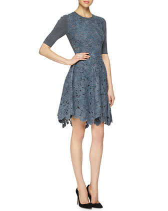 Half-Sleeve Floral-Lace Combo Dress
