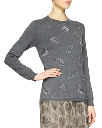 Cashmere-Blend Feather Beaded Sweater