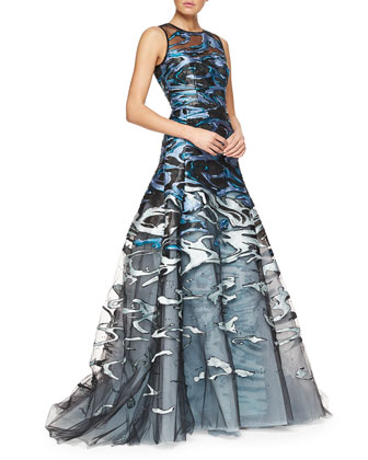 Wave Jacquard & Embroidered Tulle Full Gown