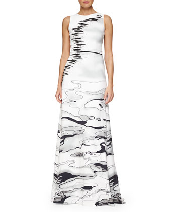 Water-Print Column Gown