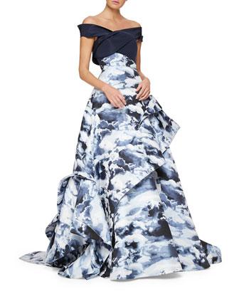 Cloud Jacquard Asymmetric Ruffle Gown