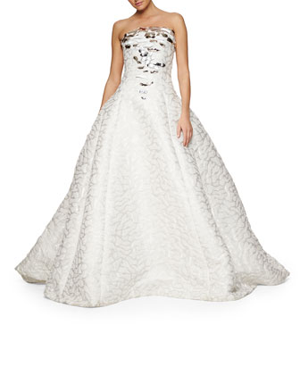 Bubbled Water Jacquard Jeweled Strapless Gown