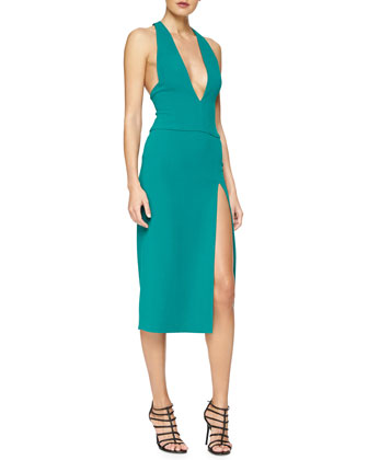 Plunging High-Slit Cady Dress