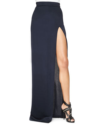 Cutout-Front Crop Top & High-Slit Full-Length Skirt