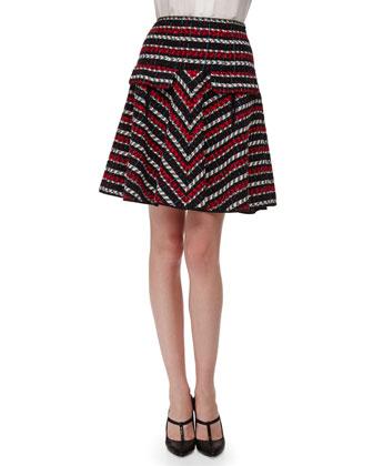 Silk Tie-Neck Lace-Stripe Blouse & A-Line Tweed Skirt
