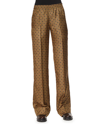 Medallion-Print Straight-Leg Pants