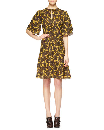 Paisley-Print Ruffle-Sleeve Dress