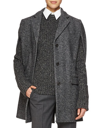 Herringbone Three-Button Cape Jacket, Cashmere-Blend Ribbed Crewneck ...