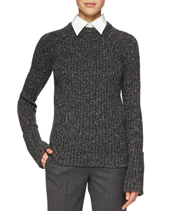 Merino/Cashmere Ribbed Crewneck Sweater, Charcoal Melange