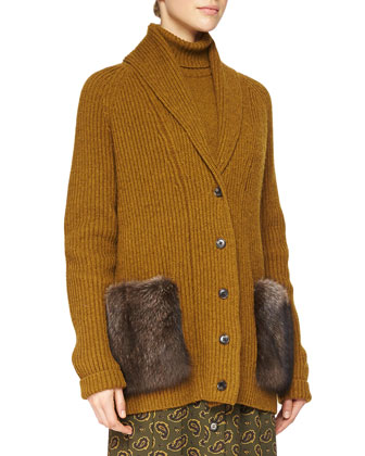 Fur-Pocket Cashmere Long Cardigan, Half-Sleeve Cashmere Sweater & ...