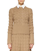Cashmere-Blend Mixed-Knit Sweater