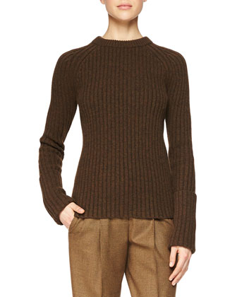 Merino/Cashmere Ribbed Crewneck Sweater, Chocolate