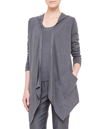 Hooded Silk Jersey Asymmetric Cardigan