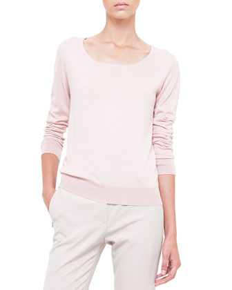 Cashmere-Blend Knit Long-Sleeve Top, Pale Pink