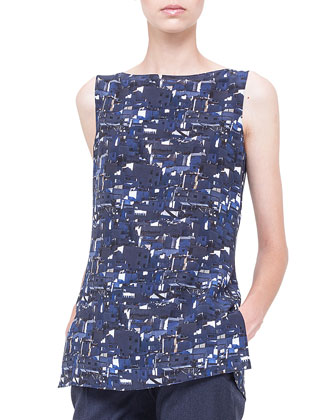 Chefchaouen-Print Boat-Neck Top