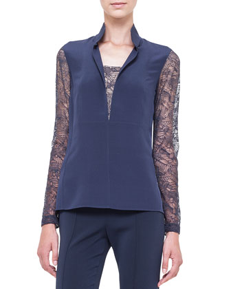 Lace-Inset Split-Neck Blouse