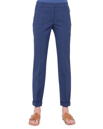 Melvin Melange Gabardine Ankle Pants, Bright Blue