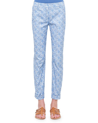 Melvin Chefchaouen-Print Twill Ankle Pants, Medium Blue