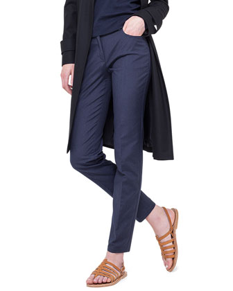 Storm-System Hooded Trenchcoat & Magda Slim-Fit Silk-Blend Pants