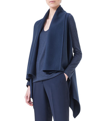 Cashmere Sleeveless Draped Cardigan, Cashmere V-Neck Pullover Top & Frank ...