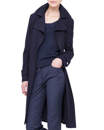 Storm-System Hooded Trenchcoat, Navy