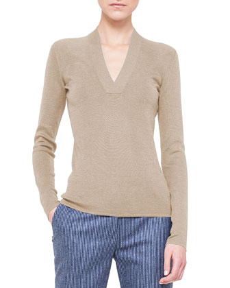 V-Neck Knit Pullover Top, Barite