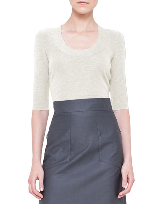 Half-Sleeve Silk Knit Top, Calcite