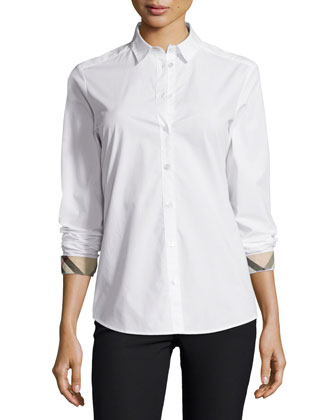 Long-Sleeve Check-Trim Poplin Blouse