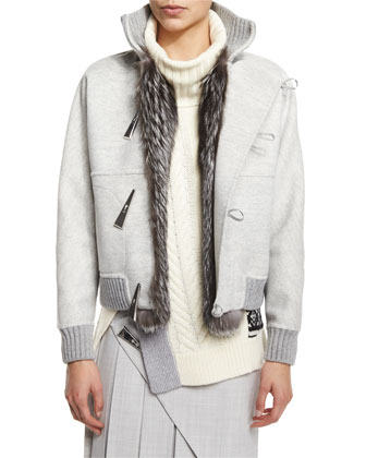Cashmere-Blend Fox Fur Trimmed Baseball Jacket, Sleeveless Scalloped ...