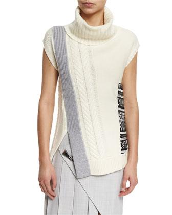Sleeveless Scalloped Intarsia Knit Sweater