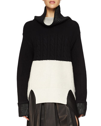 Cashmere Oversized Bicolor Knit Sweater