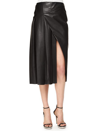 Faux-Wrap Pleated Leather Midi Skirt