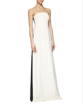 Strapless Colorblock Cascading Ruffle Gown