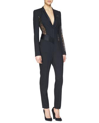 Lace-Inset Crepe Jumpsuit
