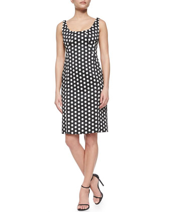 Single-Snap Crop Cardigan & Polka-Dot Jacquard Tank Dress