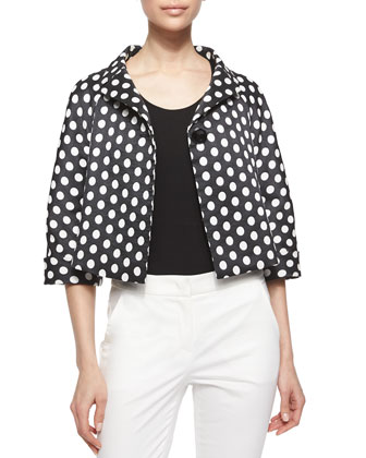 Polka-Dot Swing Jacket, Trapunto-Stitched Tux Blouse & Front-Zip Capri Pants