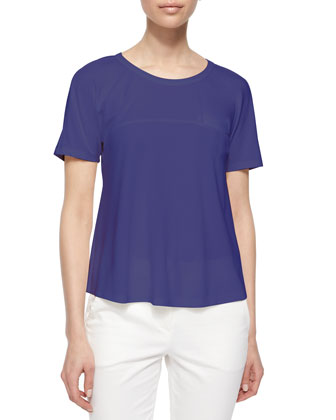 Geometric Woven Cardigan, Short-Sleeve A-Line T-Shirt & Front-Zip Capri Pants