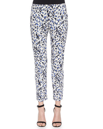 Leopard-Print Slim-Fit Capri Pants