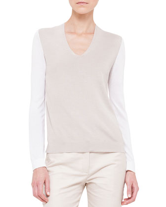 Bicolor Silk-Blend Combo Top