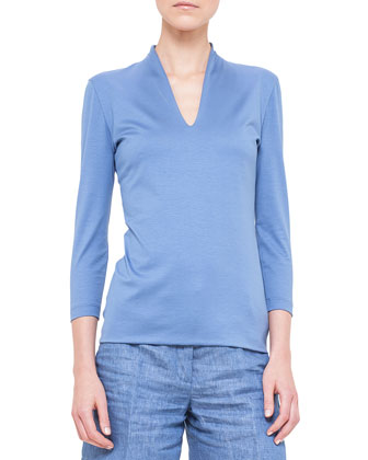 Three-Quarter-Sleeve Shawl-Collar Top