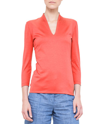 Three-Quarter-Sleeve Shawl-Collar Top, Akai