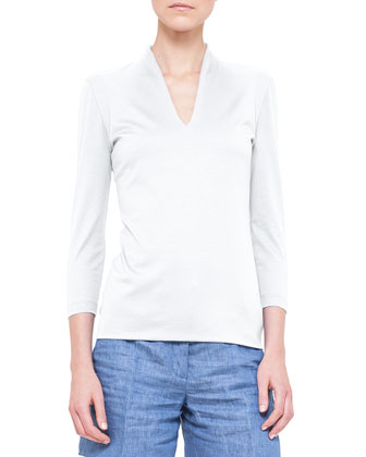 Three-Quarter-Sleeve Shawl-Collar Top, Calcite