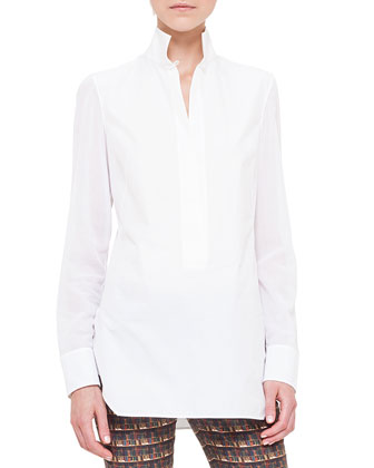 Poplin Stand-Collar Tunic, Calcite
