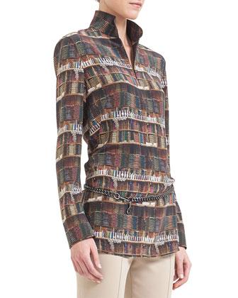 Bobines-Print Stand-Collar Tunic