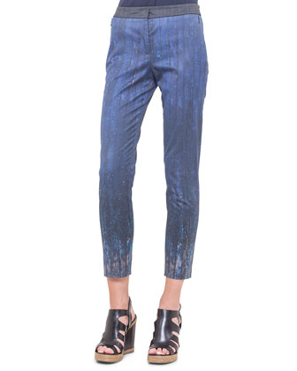Secret Door-Print Slim Ankle Pants