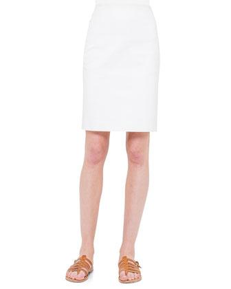 Asymmetric-Peplum Sateen Gilet & Double-Faced Sateen Pencil Skirt