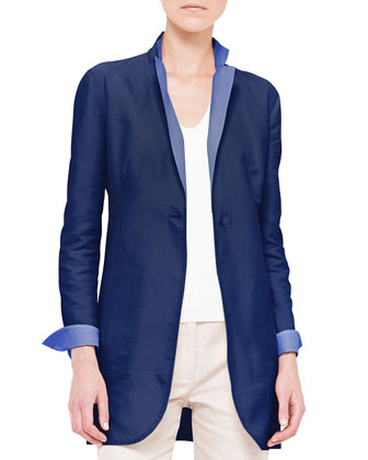 Contrast Reversible Double-Faced Jacket, Azurite