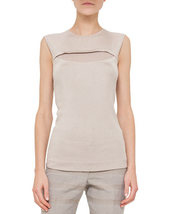 Jewel-Neck Sleeveless Knit Top, Kraft