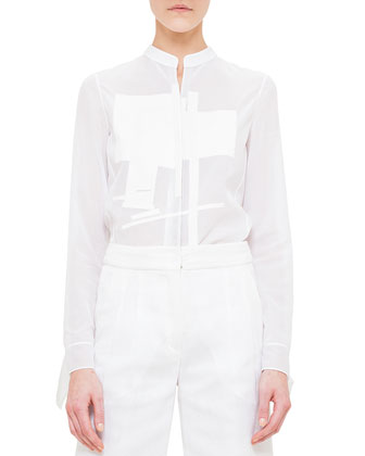 Rectangle Embroidered Voile Blouse
