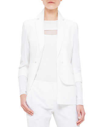 Seersucker Single-Button Jacket, Calcite